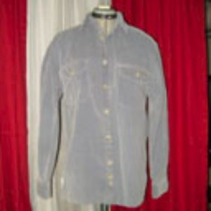 Faded Glory Blue Gray Corduroy Shirt